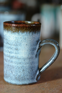 one of a set of pottery espresso coffee mugs hand thrown, glazed and decorated by Damian Keefe