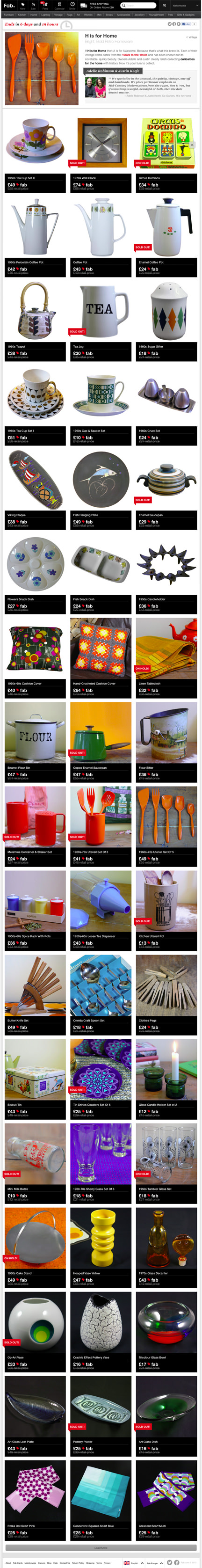 screenshot of H is forHome's Fab Sale webpage
