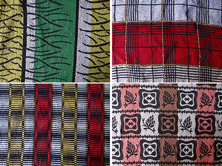 patchwork of four different fabric pieces