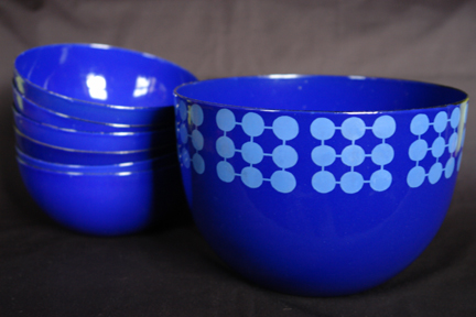 collection of blue vintage Finel enamel bowl decorated with circles in a square pattern