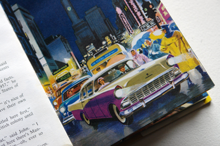 "page from the vintage 1959 Ladybird book, ""Flight three, U.S.A. - A Ladybird Book of Travel Adventure"" showing a Cadillac and other cars"