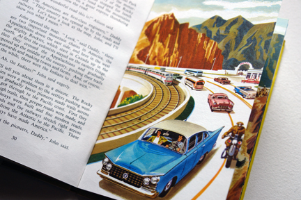 "page from the vintage 1959 Ladybird book, ""Flight three, U.S.A. - A Ladybird Book of Travel Adventure"" showing a freeway with a railway line passing beneath"