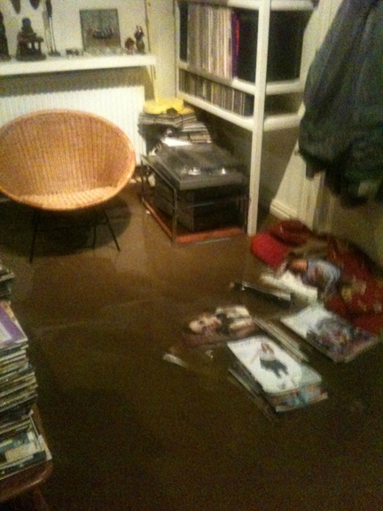 a flooded corner of our sitting room
