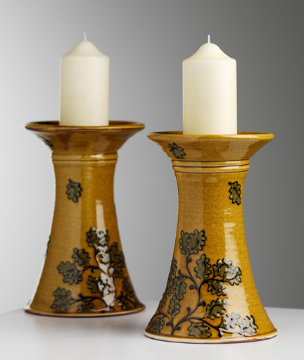 pair of slipware decorated candlesticks hand made & decorated by Hannah McAndrew