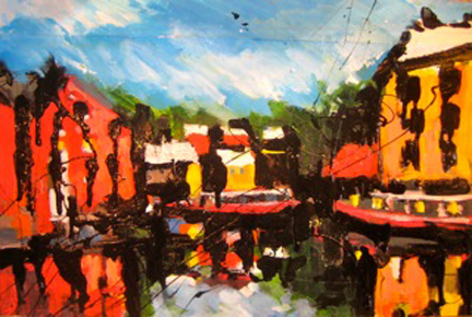 painting of canal barges by Olivia Pilling