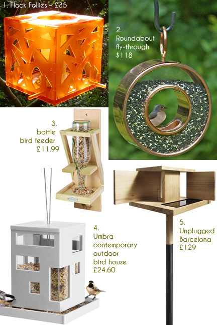 selection of five different bird feeders