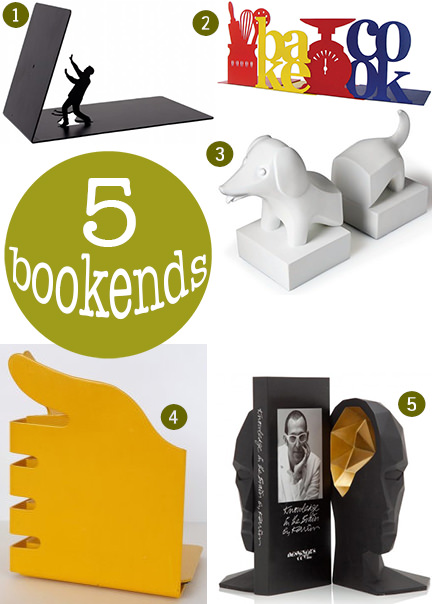 selection of 5 pairs of bookends