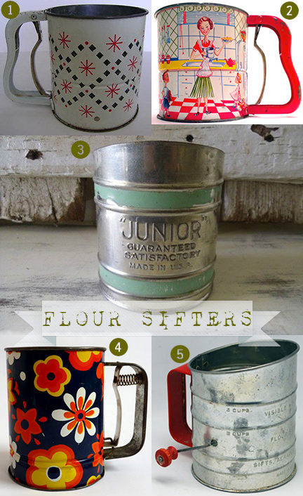 selection of 5 vintage flour sifters