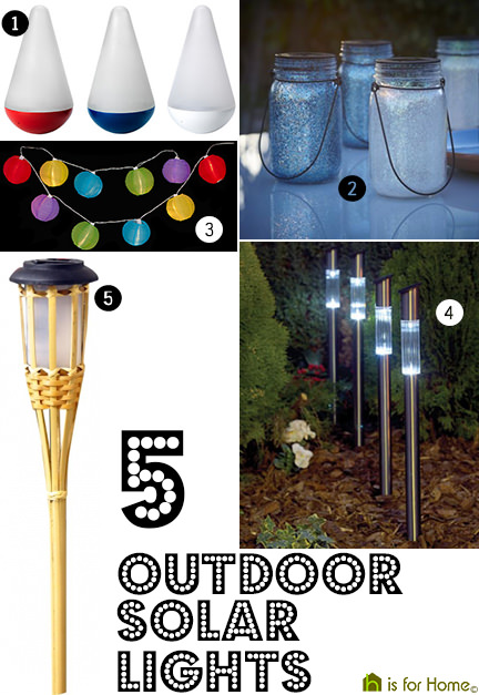 selection of 5 outdoor solar lights