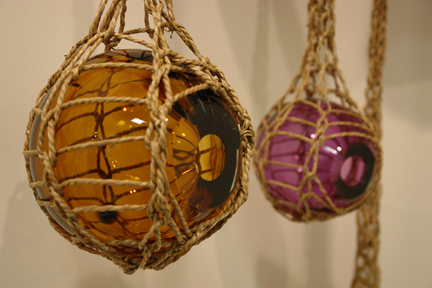 detail from Gemma Truman's seagrass & glass works inspired by weaverbirds' nests