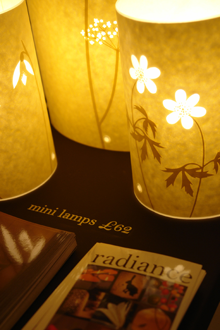 a display of Hannah Nunn's Radiance mini lamps