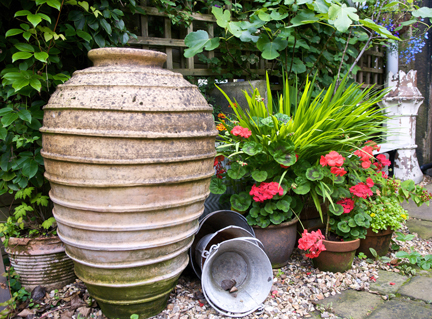 Urn in H is for Home's back garden