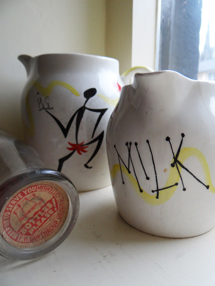 pair of vintage Kirkham Pottery milk jugs with vintage milk bottle