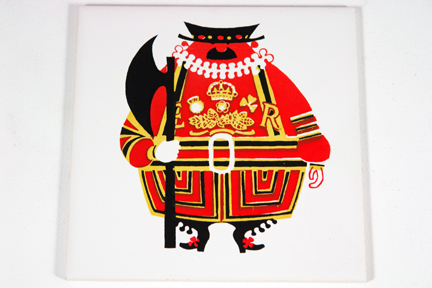 vintage Kenneth Townsend tile featuring a London beefeater