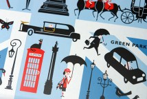 detail from a limited edition Marks and Spencer biscuit tin produced to commemorate the 2012 London Olympic Games showing an illustrations of Green Park