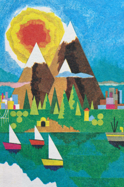 detail of a vintage travel map from the 1960s showing an illustration of 3 peaks, forest, sun, boats and water