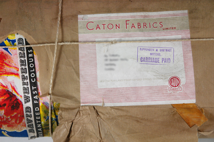 bolt of vintage David Whitehead fabric still wrapped in its original brown paper and address label