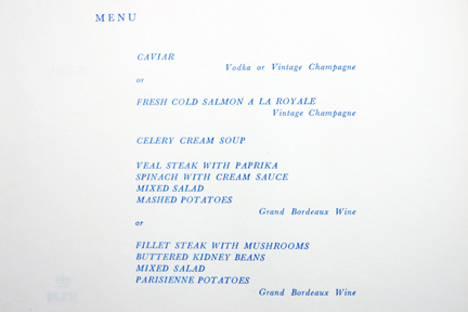 KLM in-flight menu items