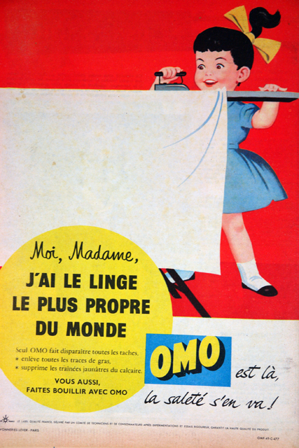 "Advertisement for Omo detergent from a vintage 1950s French ""L'Echo de la Mode"" magazine"