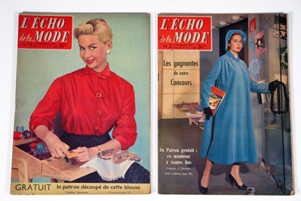 "pair of vintage 1950s French ""L'Echo de la Mode"" magazines"