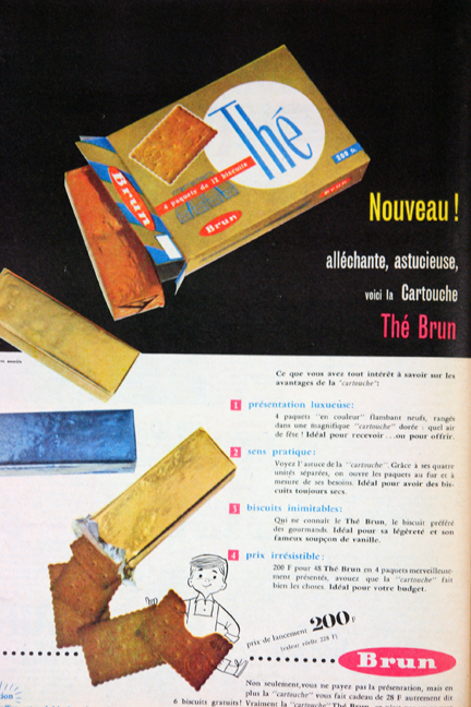 "Advertisement for Thé wafers from a vintage 1950s French ""L'Echo de la Mode"" magazine"