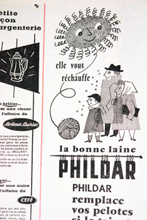 "Advertisement for Phildar wool from a vintage 1950s French ""L'Echo de la Mode"" magazine"