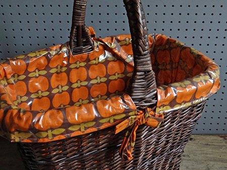 vintage rattan basket enamelware shortly to be listed in the H is for Home webshop
