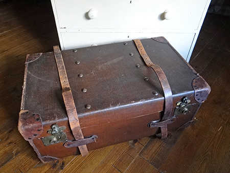 large vintage leather trunk