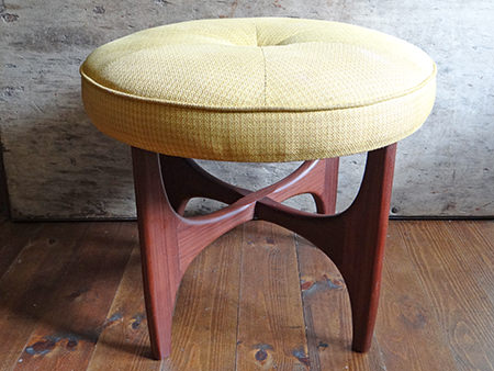 Original vintage G-plan footstool with yellow upholstery seat