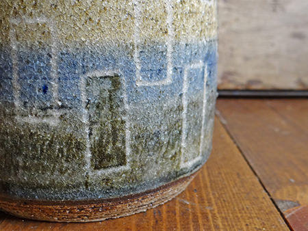 Detail of a vintage studio pottery lamp base made by Evans in 1976