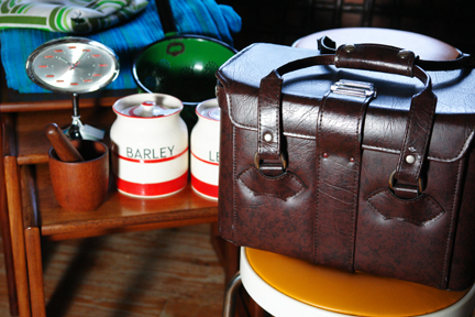 detail of vintage vinyl Hinomoto camera bag