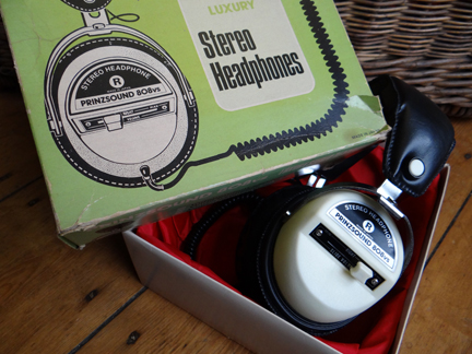 selection of recently acquired vintage homewares including set of vintage headphones