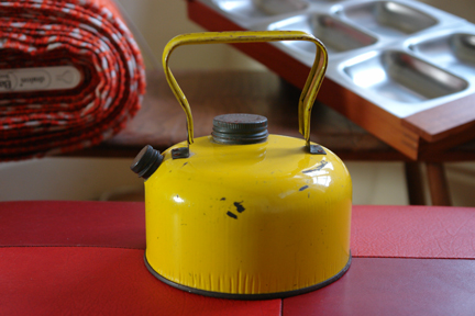 bright yellow vintage camping kettle