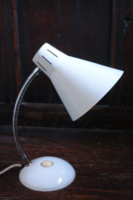 white vintage goose neck desk lamp