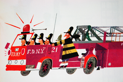 "illustration from Miroslav Sasek's vintage children's book, ""This is... New York"" showing firemen in a fire engine"