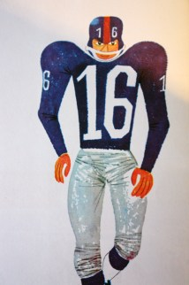 "illustration from Miroslav Sasek's vintage children's book, ""This is... New York"" showing an American footballer"