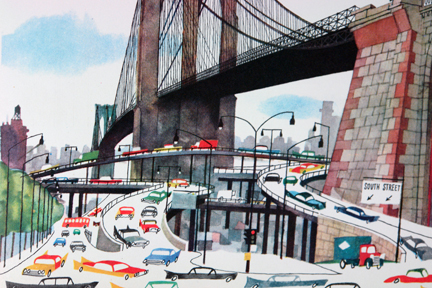 "illustration from Miroslav Sasek's vintage children's book, ""This is... New York"" showing Brooklyn Bridge with cars passing beneath it"