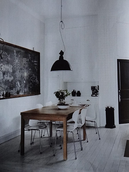 Dining room in monochromatic home