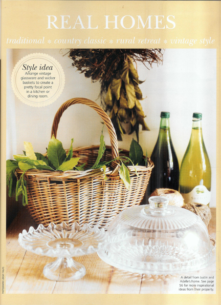 vintage wicker basket and glass cake stands in the pantry of Adelle & Justin, co-owners of H is for Home