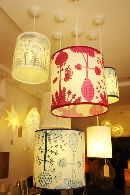 collection of hanging lampshades available at Radiance in Hebden Bridge