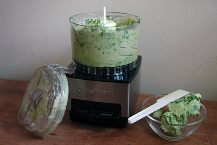 ramson butter in a mini food processor and small glass bowl