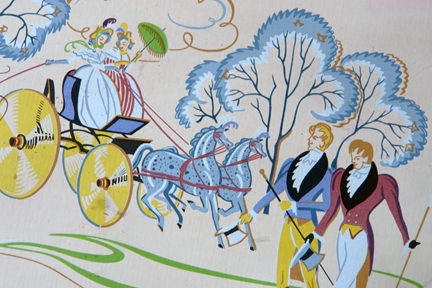 detail from a vintage biscuit tin produced by A Romary and Company Limited decorated with Regency period figures of dandies promenading and ladies in a horse drawn carriage