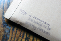 Wayne Hemingway's return address label