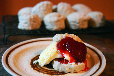homemade scones, homemade strawberry jam and clotted cream