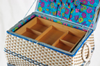 vintage blue dandycord sewing box on legs