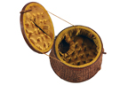 round, cane vintage sewing box with yellow quilted interior