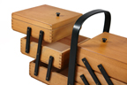 vintage wooden tabletop sewing box with black trim