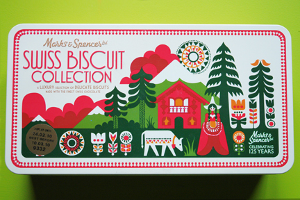 Marks & Spencer Swiss biscuit collection biscuit tin designed by Sanna Annukka