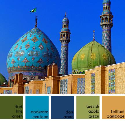 mosque with blue and green domes in Iran. Example of Islamic architecture