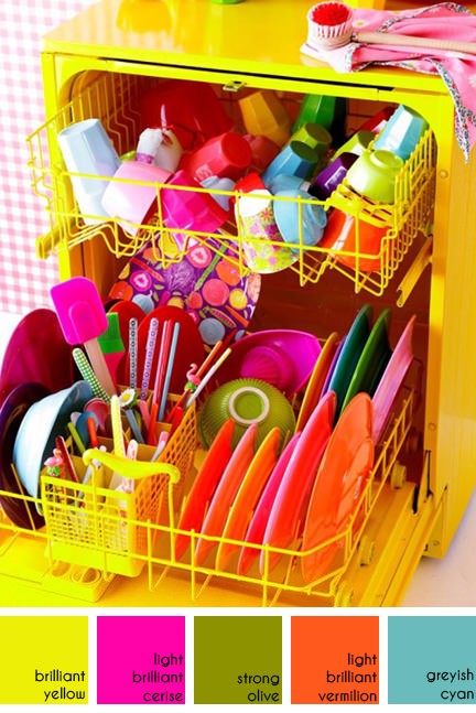 yellow dishwasher with a collection of colourful Rice melamine plates, cups etc available from Huset